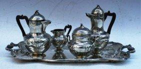 Silver 5 Pc. Nouveau Tea Set W/ Foliage Motifs