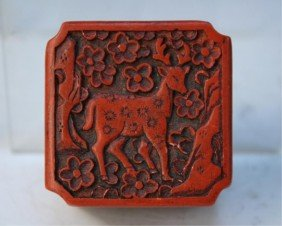 Small Chinese Cinnabar Box W/ Deer