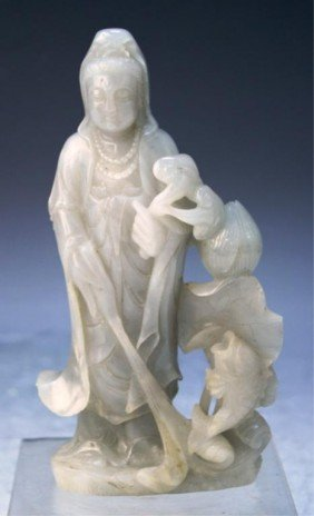Chinese Jade Carved Guanyin With Fish & Peach