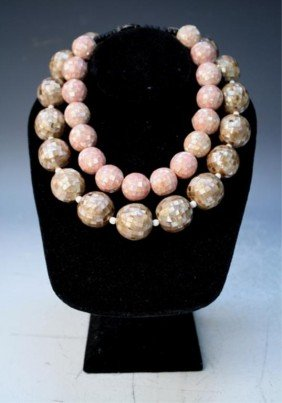 Lot Of 2 Mosaic Mother Of Pearl Beaded Necklaces