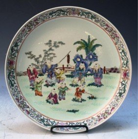 Chinese Famille Rose Porcelain Plate With Children