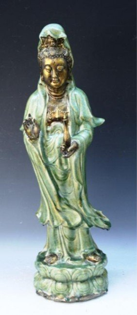 Large Chinese Gilt Celadon Guanyin