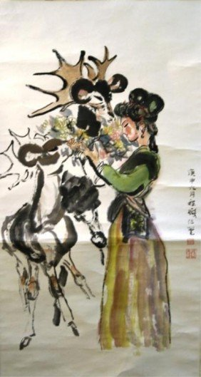 Chinese Scroll Painting Of Beauty Attr Cheng Shifa