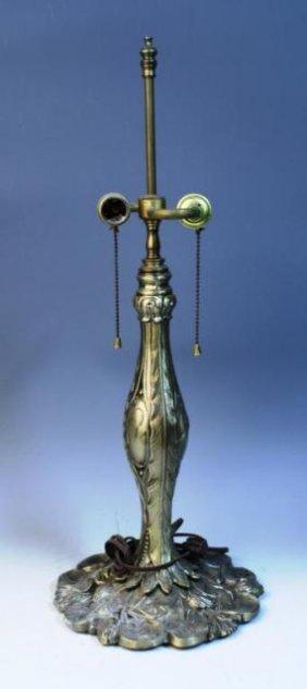 Brass Nouveau Lamp W/ Lily Pads & Reeds On Base