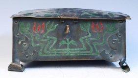 Art Crafts Shop NY Metal Box W/ Poinsettias