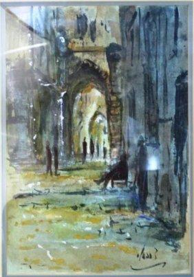 Zvi Raphaeli Painting Of Mea-Shearim