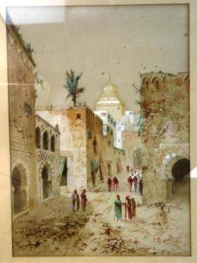 Henri Lynton W/C Of Middle Eastern Street Scene