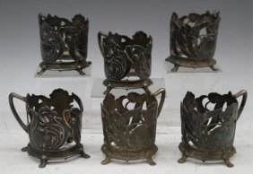 Set Of 6 Pewter Nouveau Cup Holders