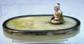 Stone Slab W/ Chinese Style Porc. Buddha