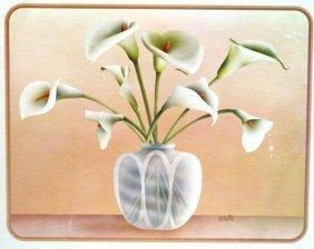 Carlos Rios Print Of Calla Lilies Inside Vase