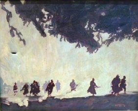 Floyd Gahman Painting Of Silhouetted Figures 1931