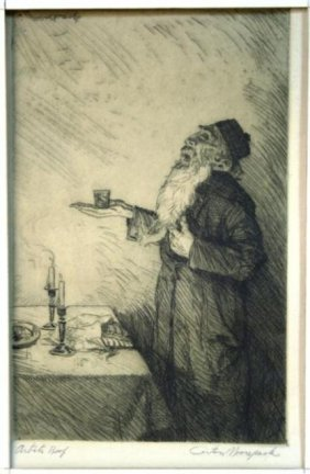 Carton Moore-Park Etching Of Rabbi Blessing Wine