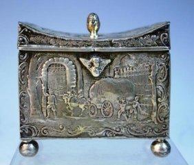 English Import Sterling Silver Box W Figural Scene