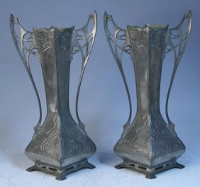 Pair Of Art Nouveau Pewter Vases Poss. French