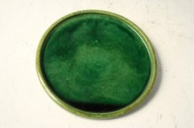 Chinese Green Porcelain Flat Plate Tang Dynasty