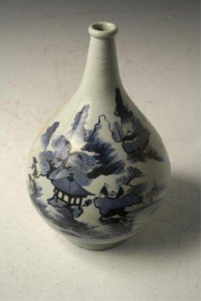 Chinese Blue & White Porcelain Bottle Vase Ming D