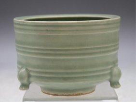 Chinese Celadon Censer W/ Crackle Glaze