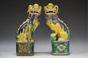 Pair Of Chinese Sancai Porcelain Foo Dogs Qing