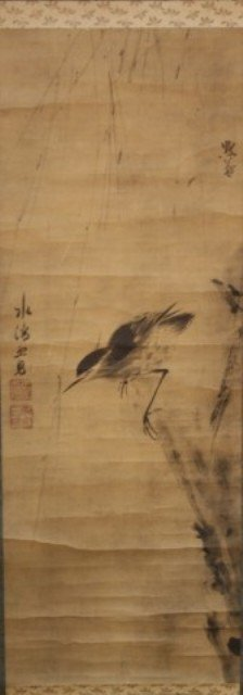 Japanese Bird & Flower Scroll Painting 19th C