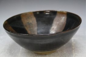 Chinese Black & Brown Glazed Pottery Bowl