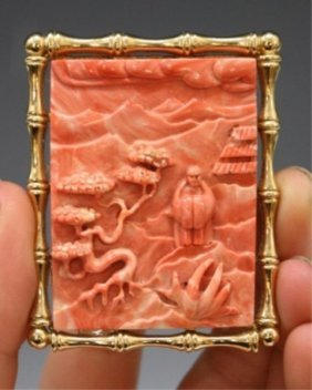 Chinese Carved Coral Pendant Mounted As Brooch