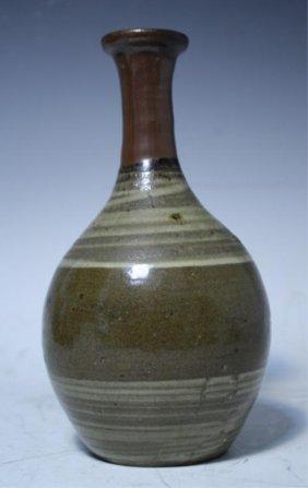 Japanese Karatsu Brown Red & White Pottery Vase 19C