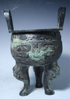 Chinese Bronze Ding Vessel Shang Dynasty