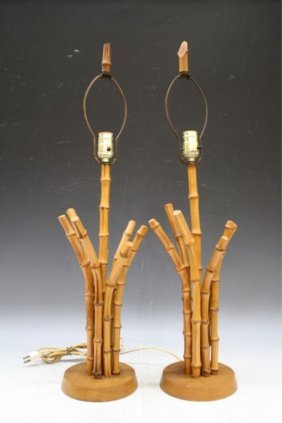 Pair Of French Bamboo Lamps 1950s
