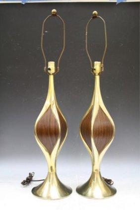Pair Of Wood & Brass Laurel Lamps 1960s American