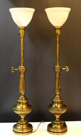 pair of mid century solid brass stiffel lamps lot 219. Black Bedroom Furniture Sets. Home Design Ideas