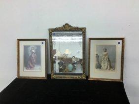 Antique Mirror/pair Victorian Prints