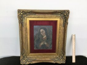 Religious Icon Painted On Tin