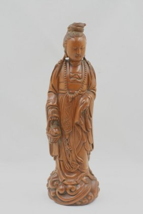In The Qing Dynasty Boxwood Basket Guanyin