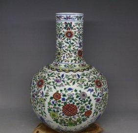 Chinese Large Chinese Qing Porcelain Doucai Flower Vase