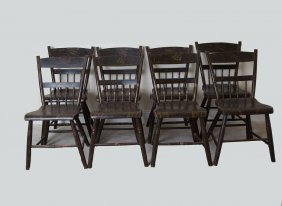 8 Antique Wood Chairs