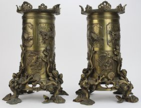 Pair Of Ornate Chinese Cast Bronze Dragon Censers