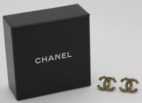 Signed Chanel Champagne Crystal Cc Logo Earrings