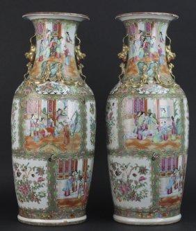 Pair Chinese Rose Medallion Porcelain Floor Vases