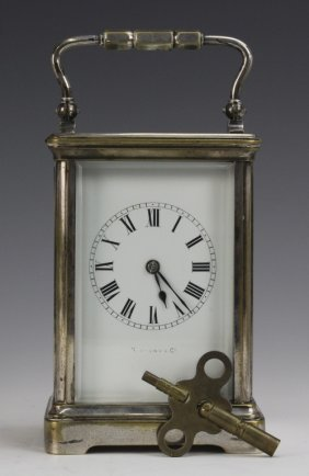 Tiffany & Co. Skeleton Case Glass Carriage Clock