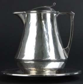 Horace Potter Arts & Crafts Silver Syrup Jug Plate