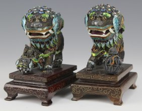 Pair Chinese Wire Silver Filigree Enamel Foo Dogs