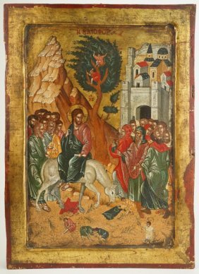 Jesus On Mule Gold Gilt Russian Icon Painting