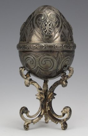 Russian 84 Silver Faberge Style Easter Egg W Stand