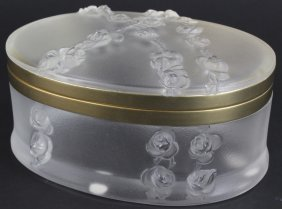 Lalique French Crystal Roses In Relief Dresser Box