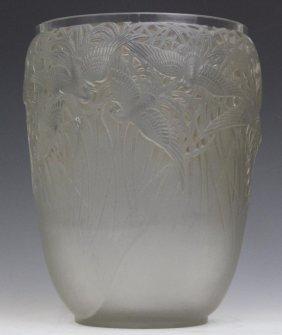 Rene R. Lalique Aigrettes French Art Glass Vase