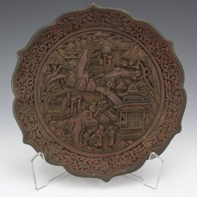 Chinese Deep Carved Red Cinnabar Lacquer Plate