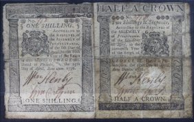 Pair Uncut Colonial Currency 1776 Shilling Half