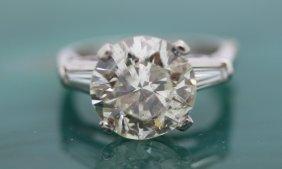 Antique 5 Carat Tw Diamond Solitaire Ring Platinum