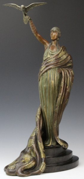 ERTE VICTOIRE Falconer Art Deco Bronze Sculpture