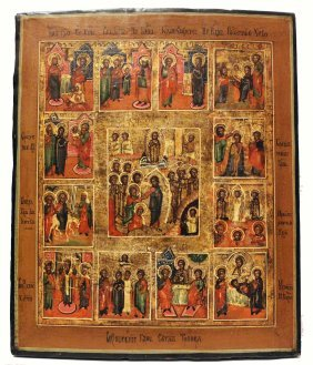 Russian Icon 'the Resurrection Of Christ' With Feasts